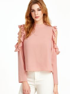 Shop Pink Open Shoulder V Cut Out Back Ruffle Top online. SheIn offers Pink Open Shoulder V Cut Out Back Ruffle Top & more to fit your fashionable needs.