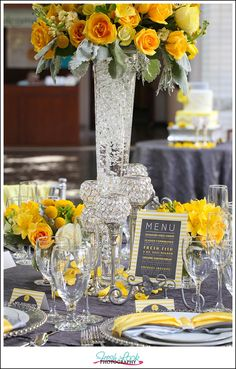modern glamour, yellow and gray, stylized wedding, Virginia Museum of Contemporary Art, MOCA, Fresh Look Photography, bride and groom, bridesmaid dress, groomsmen, flower girl, contemporary wedding, wedding table, wedding centerpiece