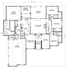 **I like the floor plan, but would change a few things. ^_^** First Floor Plan of European House Plan 82145 Screened in porch off the master suite would be a sun room for the cats. The study could double as a guest room too. House Plans And More, Best House Plans, Dream House Plans, House Floor Plans, Dream Houses, Huge Houses, Tiny Houses, European Plan, European House