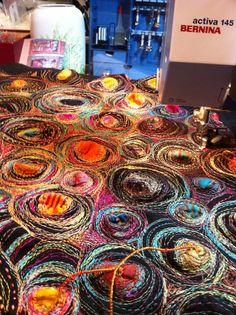 work in progress...stitching felt... www.brelihart.com Freehand Machine Embroidery, Free Motion Embroidery, Free Machine Embroidery, Embroidery Applique, Textile Fiber Art, Textile Artists, Fabric Yarn, Fabric Crafts, Creative Textiles
