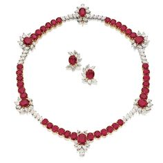 FINE RUBY AND DIAMOND NECKLACE AND PAIR OF MATCHING EARRINGS | Lot | Sotheby's