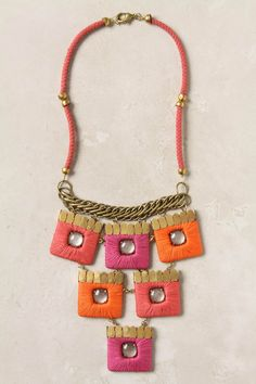 Ramparts Bib Necklace- pink and orange- oh yes