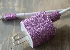 Glitterized Phone Charger DIY Project #glitter #DIY #organize #craft #teens (Just make sure to completely cover all of the metal parts with tape before starting the craft. Getting glitter or glue on the metal wouldn't be good.) :D