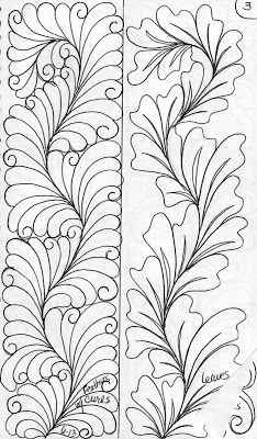Sketch Book Here is a basic curvy spine. with different designs Left Feather . Quilting Stencils, Quilting Templates, Machine Quilting Designs, Longarm Quilting, Free Motion Quilting, Quilting Tips, Zentangle Drawings, Zentangle Patterns, Quilt Patterns