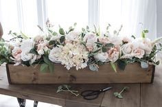 DIY Faux Floral Arrangement: Feminine Yet Rustic Crate faux floral arrangement. I just purchased the same florals from Michael's.they have some beautiful silk flowers to choose from. Fake Flower Arrangements, Silk Arrangements, Floral Centerpieces, Table Centerpieces, Flower Box Centerpiece, Wooden Box Centerpiece, Centerpiece Wedding, Deco Table, Flower Boxes