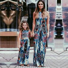Family Mother Daughter Maxi Long Dresses Halter Loose Floor Dress Party Vestidos Girls Dress Mom and Baby Kids Matching Clothes Mother Daughter Matching Outfits, Mommy And Me Outfits, Matching Family Outfits, Kids Outfits, Matching Clothes, Mother Daughter Fashion, Mom Daughter, Baby Girl Dresses, Baby Dress