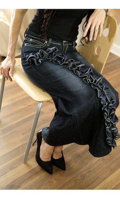 Womens Modest Denim Skirt with Long Ruffle Detail
