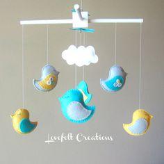 Baby Crib Mobile -  Custom Baby Mobile - Baby Mobile Birds - Bird Mobile - Nursery mobile