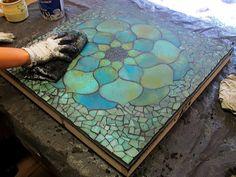 Kasia Mosaics: Turquoise Lotus Flower
