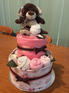Nappy cake with singlet & washer roses