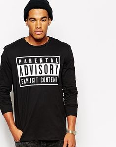 ASOS Skater Long Sleeve T-Shirt With Parental Advisory Print
