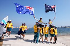 Glory boys: Australia celebrate their victory in 470 class sailing << Follow us for all things boats! Twitter & Pinterest @Boats for Sale UK