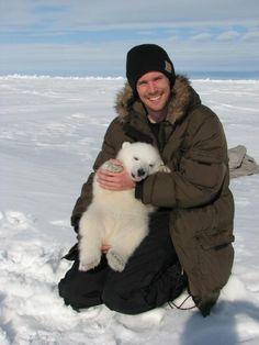 man polar bear white snow nature
