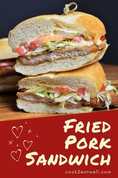 In this fried pork sandwich, thin pork loin chops are simply seasoned, breaded and fried until golden on the outside and juicy on the inside. Then they're served on a large roll with a spicy mayo, lettuce, tomatoes, and pickles. Easy and delicious, this sandwich will be on your family's dinner request list.