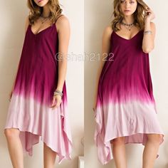"New Ombré tie dye sexy hi low shark bite hem dress New with tags.  Blue or berry available in small,medium or large. woven, v-neckline, adjustable straps ✏️The back is a tie up style and you can adjust and tie it how you want it. Ombre tie dye dip style. Flare Boho summer sun dress, very flattering. shark bite hem. hi lo, high low hem. Material is not sheer or see through ✏️Dress is lined with stretchy fabric. fabric is 100%Rayon. Armpit to armpit=(L) is 23"" Length(high to low point(L) is…"