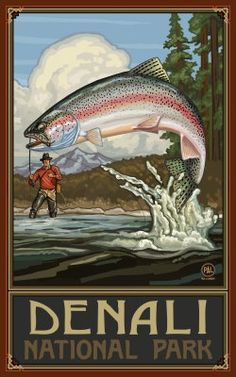 Northwest Art Mall Shaver Lake California Rainbow Trout Fisherman Hills Artwork by Paul A. Lanquist, by National Park Posters, National Parks, Vintage Tin Signs, Gone Fishing, Fishing Trips, Fishing Stuff, Fishing Books, Poster Prints, Art Prints
