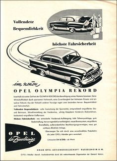Opel Olympia Rekord, Magazine Ad / Anzeige, AMS 1953