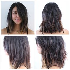 Mid length hair. Blunt. Soft undercut. Soft waves. Lived in hair. Layers. Movement. Natural highlights.