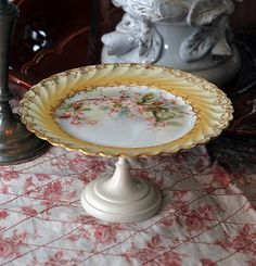 Vintage Limoges plate made into cake stand...