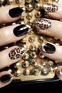 Fierce! #nails #nailart #gold