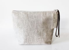 Linen Cosmetic bag Large toiletry bag Make up case Linen pouch by BeanieonHelinaSHOP