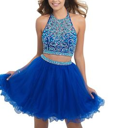 Sweetdresses Two Pieces Homecoming dress ,Crystal Jewel Short Prom Gown, 2, Blue