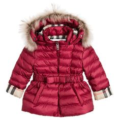 Burberry - Girls Pink Down Padded Jacket with Fur Trim Hood | Childrensalon