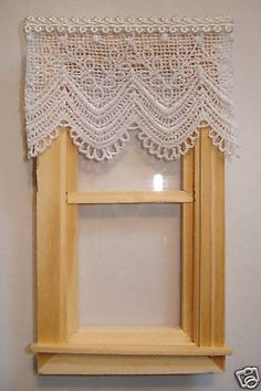 """Lace Dollhouse Curtains White 3 ' w by 2 1 4"""" L 