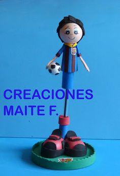FOFUCHAS. Manualidades y Creaciones Maite: FOFU LAPIZ - FOFU BOLI futbolista del Barcelona