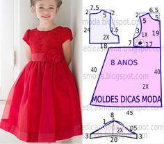 A publicação de hoje contempla o molde de vestido vermelho rodado para meninas com idade de 8 anos. A ilustração do molde não tem valor de costura tem que ser acrescentado. Muito brevemente vou aborda
