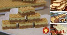 Trubičky z tortových oblátok Potrebujeme: 2 tortové oblátky 1 bal. creme olé pudingu bez varenia 300 ml mlieka 60 g masla 100 g orechov mletých (prípadne kokos) čokoláda na dekoráciu Postup: Oblátky si opatrne nakrájame na obdĺžniky (ak chcete dlhšie trubičky spravte 6, ak menšie tak aj 10 z jednej oblátky) Sú dva spôsoby, ako... Dessert Recipes, Desserts, Vanilla Cake, Waffles, Food And Drink, Cheese, Breakfast, Tailgate Desserts, Dessert