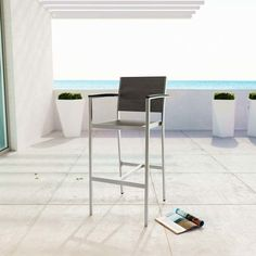 Modway Furniture Shore Outdoor Patio Aluminum Bar Stool in Silver Gray