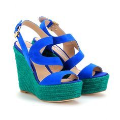 Brian Atwood - SUEDE ESPADRILLE WEDGES  what beautiful colors! *Drool* Too bad I have champagne shoe taste on a kool-aid budget!!