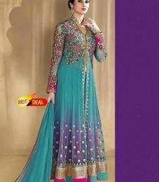Buy Sky blue net embroidered semi stitched salwar with dupatta pakistani-salwar-kameez online