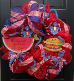 4th of july wreaths | Backyard Picinic Barbeque Deco Mesh Wreath 4th of July
