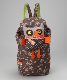 Loving this Brown & Lime Flower Quilted Backpack & Owl Plush Toy on #zulily! #zulilyfinds