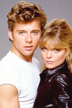""""""" Maxwell Caulfield and Michelle Pfeiffer in 'Grease """" Grease 2, Grease Live, Maxwell Caulfield, Grease Is The Word, Connie Stevens, College Boys, Michelle Pfeiffer, Straight Guys, Celebs"""