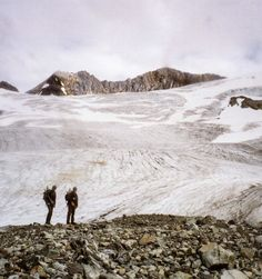 Hunters Bill Hanlon and Warren Ward at the base of B.C.Ís Fault Creek Glacier, near where 200-year-old First Nation human remains were found.