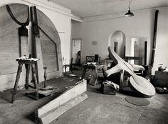 Joseph Beuys' studio at the Kurhaus in Kleve, 1958 by Fritz Getlinger