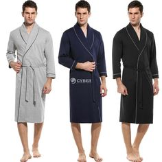 07f02135bc Men s Cotton Robe Kimono Long Bathrobe Sleepwear Wedding Grooms Christmas  Gift  Bathrobe  Christmas