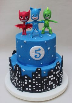 the 20 Best Ideas for Pj Mask Birthday Cake . P J Masks Cake Pj Masks Birthday Cake, Birthday Cake Card, Birthday Fun, Birthday Parties, Birthday Ideas, Pjmask Party, Party Cakes, Party Ideas, Torta Pj Mask