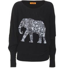 Miss Goodlife Elephant Pattern Black Cashmere sweater with print (175 AUD) ❤ liked on Polyvore featuring tops, sweaters, shirts, jumpers, pattern shirts, oversized sweater, print shirts, round neck shirt and elephant sweater