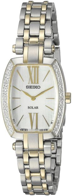 Seiko Womens Solar Tressia Stainless Steel Case and Bracelet Pearl Dial  Two-tone Watch - f37a815118d