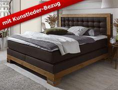massives buchenholz bett mit kunstleder kopfteil. Black Bedroom Furniture Sets. Home Design Ideas