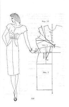 Illustration showing how to create a pattern for this dress, part of a book showing various illustrations showing how to draft different designs.