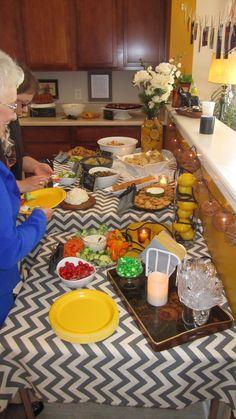 Callee's Bridal Shower: Food Table & Decor w/ Lemon, flowers, & home-made chalkboard labels!