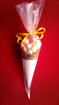 """Idea from  my aunt @Tracey Burhop  made for my son's bday at school.  Ice cream cones filled with mini marshmallow """"ice cream"""" with a sour cherry on top. Wrapped in Wilson frosting/Icing bags available at Michael's, or Hobby Lobby  no mess - like with cupcakes and such."""