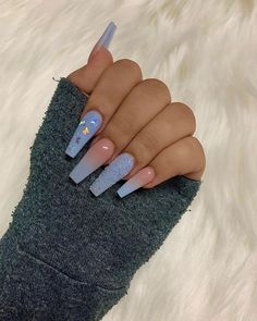 Top 32 Acrylic Nail Designs of 2020 : Page 4 of 32 : Creative Vision Design - Acrylic nails Perfect Nails, Gorgeous Nails, Pretty Nails, Blue Acrylic Nails, Simple Acrylic Nails, Simple Nails, Blue Ombre Nails, Simple Stiletto Nails, Bright Summer Acrylic Nails