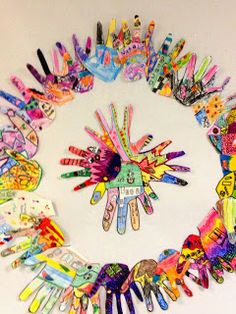 Back to School Project, Everyone decorates a hand to represent themselves