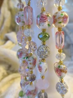 Shabby Chic Roses and Hearts Crystal by LaReineDesCharmes on Etsy, $22.50